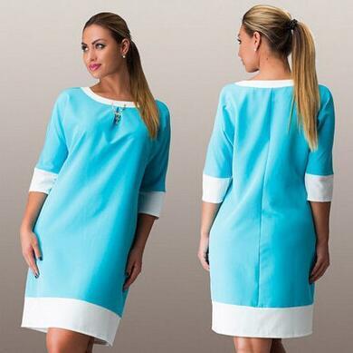 2017new diseñador mujeres del verano hasta la rodilla patchwork dress o cuello three trimestre más el tamaño maxi dress 6xl femeninos ocasionales rectos
