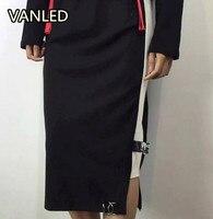 Harajuku Trend English Embroidery Letters Ribbon Split Women Skirt