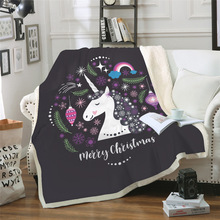 Sofa cushion Yoga mat New Print Unicorn Blanket Air Conditioner Thickened Double Plush 3D Digital Printed