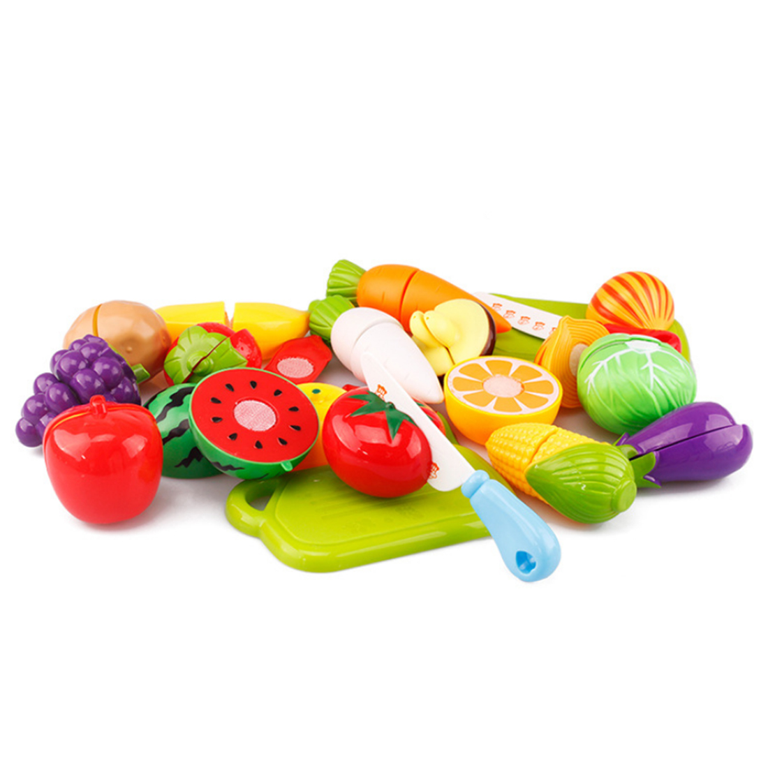 20Pcs/Set Plastic Fruit & Vegetables Cutting Toy Early Development and Education Toy for Kids - Color Random