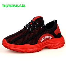 New Cool Boys Footwear for Kids Black Red Sport Children Shoes Mesh Breathable Jogging Comfortable School