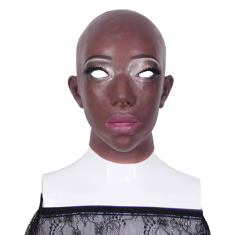African Women Face Disguise Self Disfigurement Repair Artificial Realistic Human Skin Face Crossdresser Silicone Breast FormAfrican Women Face Disguise Self Disfigurement Repair Artificial Realistic Human Skin Face Crossdresser Silicone Breast Form