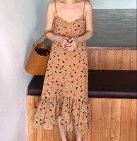 Nova primavera verão mulheres dress spaghetti strap imprimir soltas com decote em v 3119 cauda longa vestidos de colete branco azul amarelo 9527