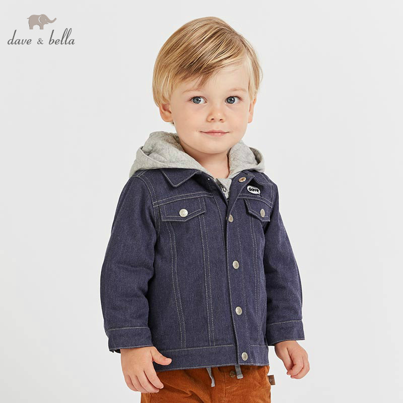 DB8502 dave bella baby boys cotton jacket children outerwear fashion denim blue coat