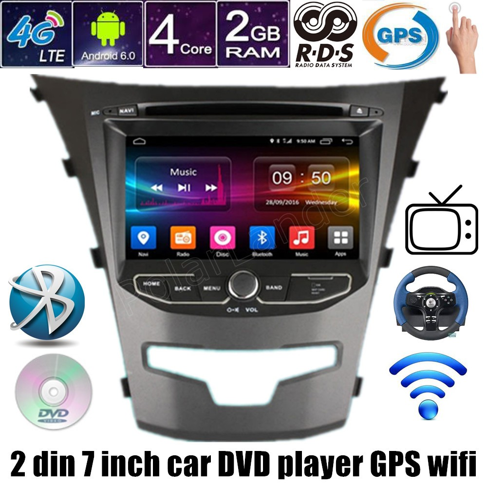 for ssangyong actyon 2014 korando Android 6.0 Auto Car DVD GPS Quad Core 7 Inch 2 Din GPS screen mirroring image