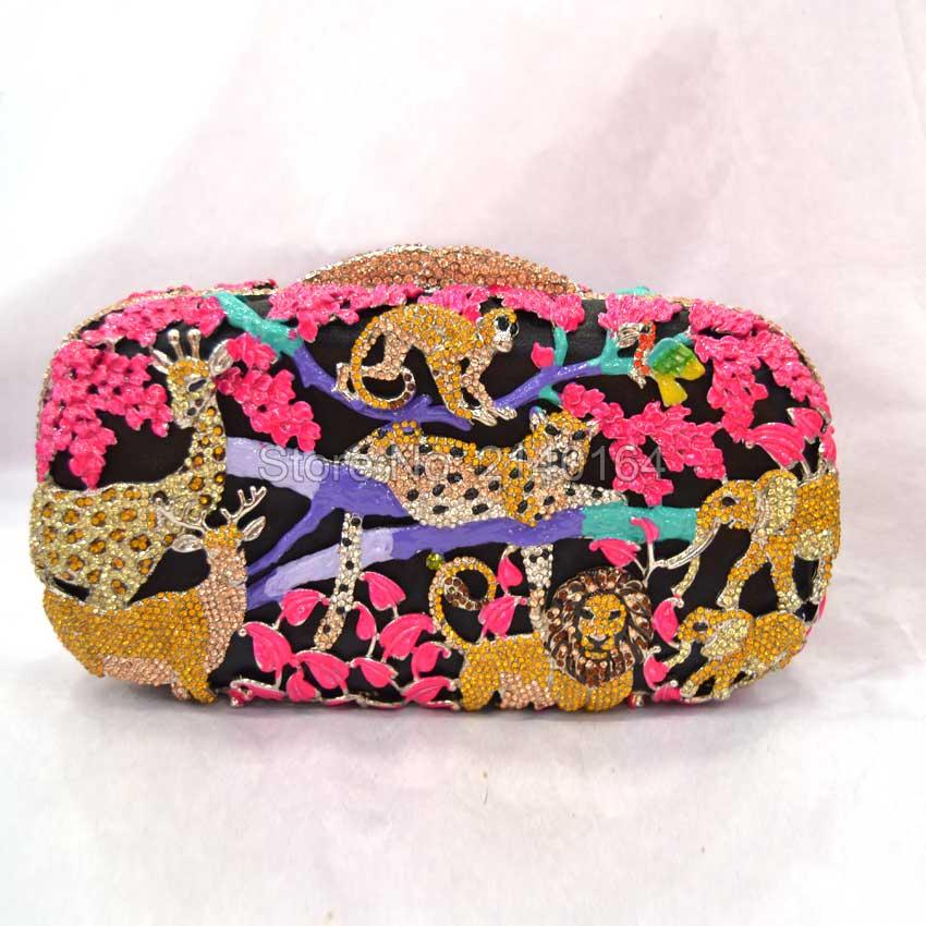 ФОТО New Fashion Women pink Evening Bag Luxury Crystal Clutch Zoo Pattern Party Handbag Purse Diamonds Hollow Out High Quality Q22