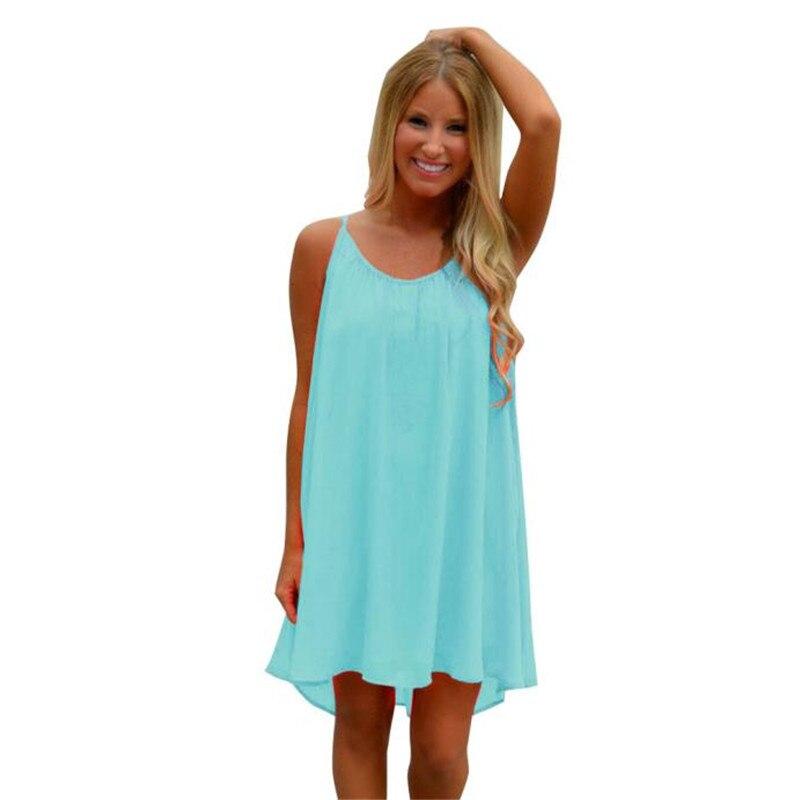 snowshine YLI Fashion Women Spaghetti Strap Back Howllow Out Summer Chiffon Beach Short Dress free shipping