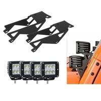 1 Pair Dual Lower A Pillar Windshield LED Light Mounts Brackets Kit with 4pcs 3x3 Dual LED Work Light For 07 17 Jeep JK Wrangler