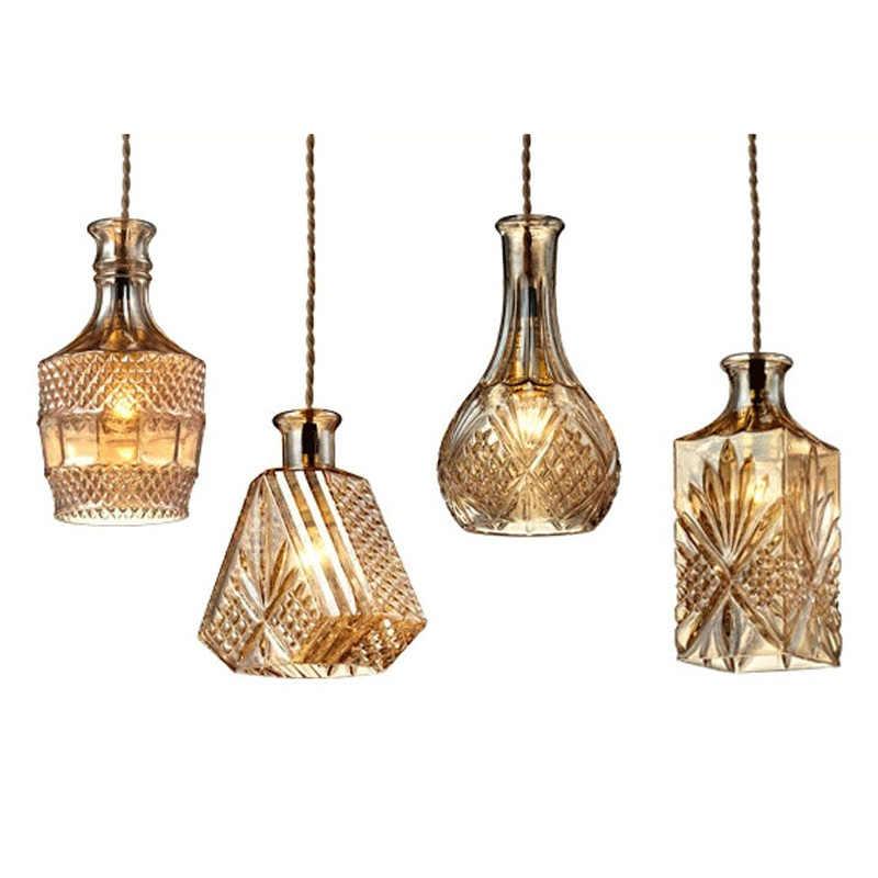 Lámpara colgante de botella de vidrio retro, lámpara colgante clásica para botella, decoración artística para decoración de comedor, lámparas decantadoras, precio al por mayor