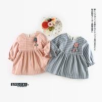 الرضع طفلة القطن توتو اللباس الوليد كيد رداء طويل الأكمام مخطط اللباس الأرنب الشمس طفل vestido ملابس الأطفال