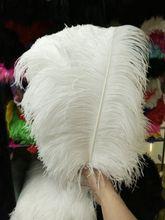 Оптовая продажа, 10 шт., качественные натуральные белые перышки страуса с большим полюсом, 45 50 см/18 20 дюймов, свадебные, карнавальные, сценические выступления