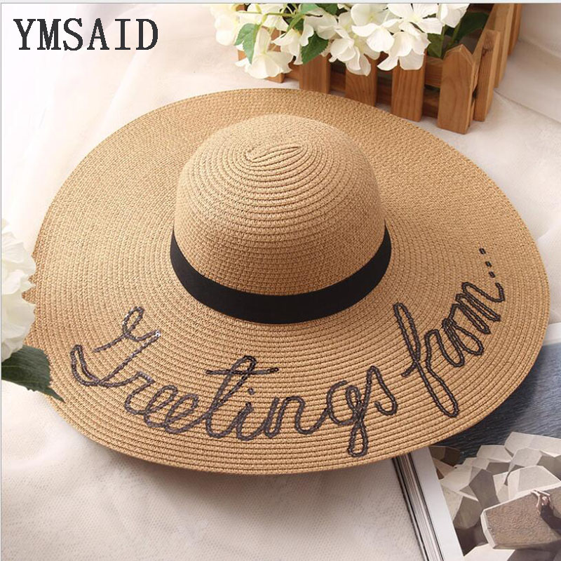 2018 New English Letters Hand Painted Sun Hats  Large Brimmed Big Straw Hat Summer Beach Hat For Women Collapsible Cap