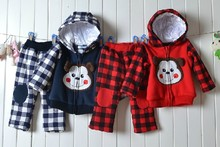Free Shipping High quality 2012 New Baby Winter thicker monkeys patch hooded jacket plaid trousers two