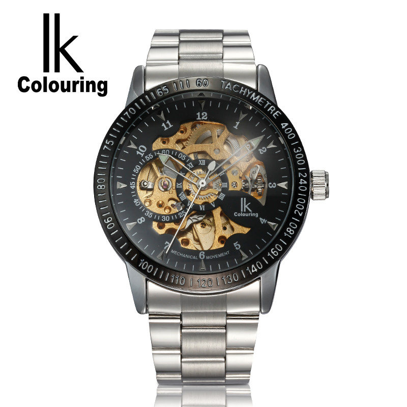 IK Coloring Casual Relogio Masculino Men's Skeleton Dial Auto Mechanical Wristwatch with Box Free Ship casual watch 2017 women s four leaf clover floral crystal skeleton auto mechanical wristwatch with box free ship