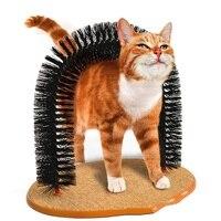 Хороший Арка кошка самонагружающийся инструмент с круглой флисовой основой Кошка щетка игрушки для домашних животных приспособления для ц...