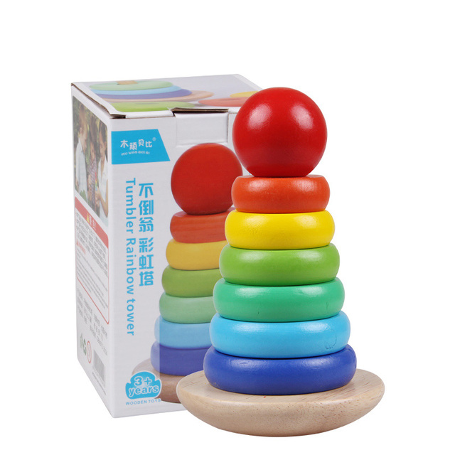 Montessori Wooden toys for Children folding tower lego toys for boys and girls of the lunar New Year gift oyuncak