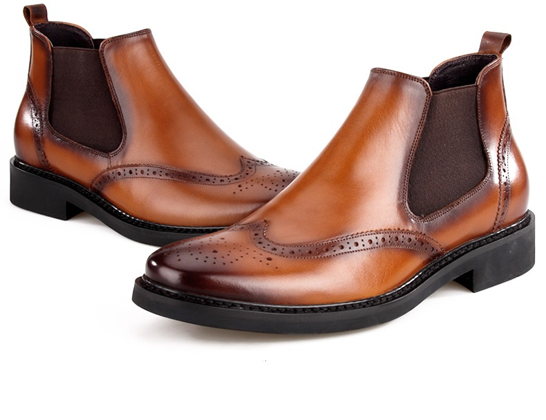 Fashion Brown Black Autumn Mens Ankle Boots Dress Shoes Genuine Leather Pointed Toe Office In Work Safety From On