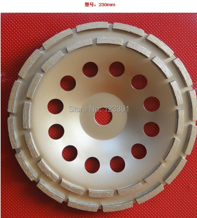 Free shipping of high quality press sintering grade 230*22*5mm double row cup wheel for grinding marble/granite/ceramic/concrete