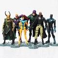 Las cifras Avengers HawkEye Edad de Ultron juguetes muñeca 6 unids/lote con base Loki Hulkbuster Ultron Visión Figura de Acción de juguete