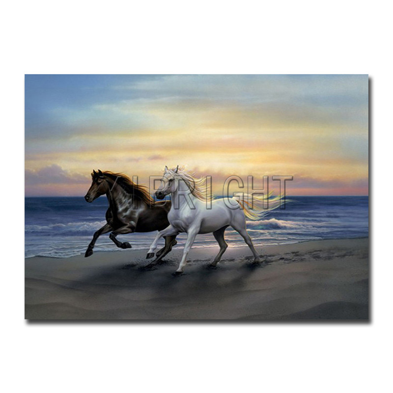 Full Round Diamond painting Cross stitch two horse 5D DIY Diamond embroidery seaside Full Square Diamond mosaic sunset Y2