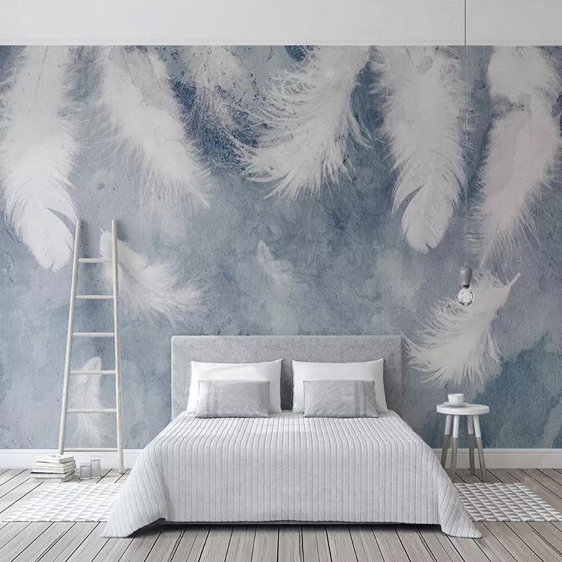 Custom Mural Wall Paper Waterproof Canvas Fabric Modern Abstract Feather Wall Painting Self-adhesive Wallpaper For Bedroom Walls