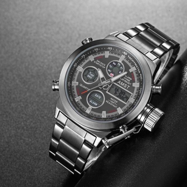 Новый Известный Элитный бренд Для мужчин Водонепроницаемый полный Сталь Часы Для мужчин кварцевые аналоговые часы СИД Мужской Спорт наручные часы Relogio Masculino