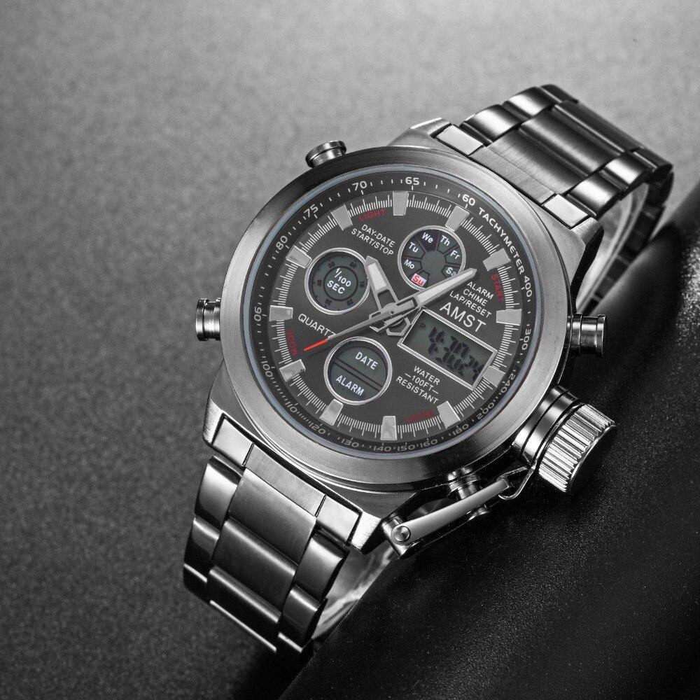 Herrenuhren Uhren Mode Herrenuhr Amst 3003 Uhren Sport Dive 50 Mt Led Military Uhren Echte Quarz Digitaluhr Relogio Masculino Geschenke