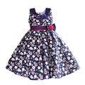Azul floral meninas vestido de gola de algodão de moda crianças vestidos vermelhos faixas listradas crianças roupas vestidos infantis para 6-10 T