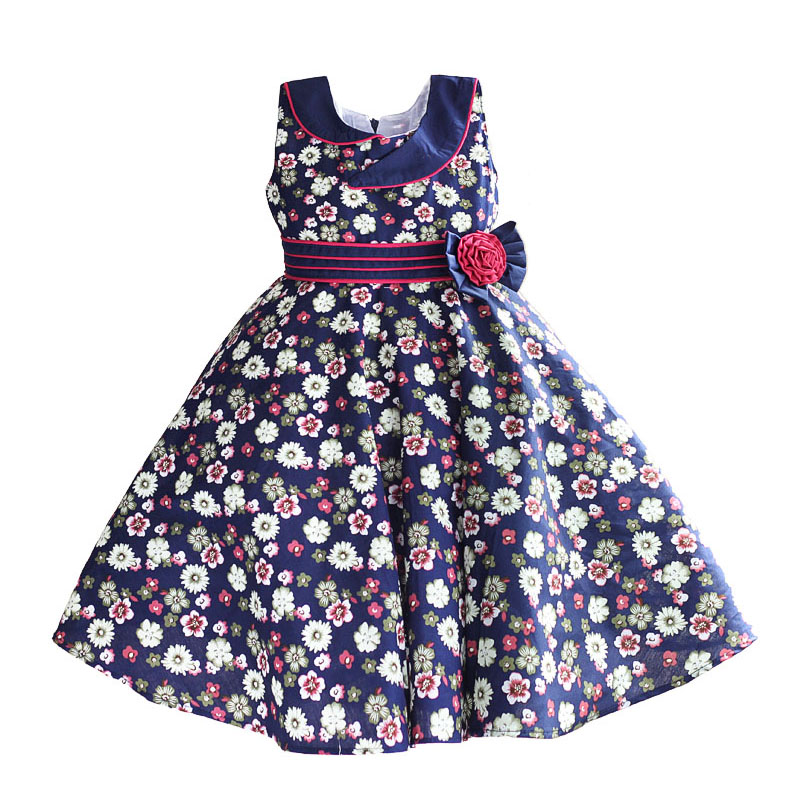 blue floral girls dress cotton fashion collar kids dresses red striped sashes children clothes vestidos infantil 6-10T children dress girls dresses cotton