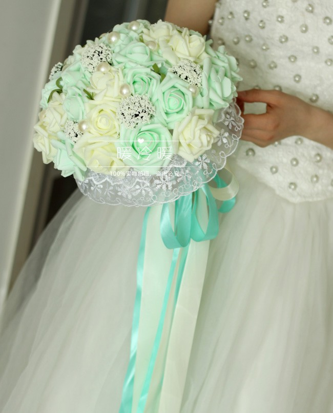 All Handmade Bridal Flower Wedding Bouquets Artificial Pearls Rose Bouquet Beautiful Mint Green In Dried Flowers From
