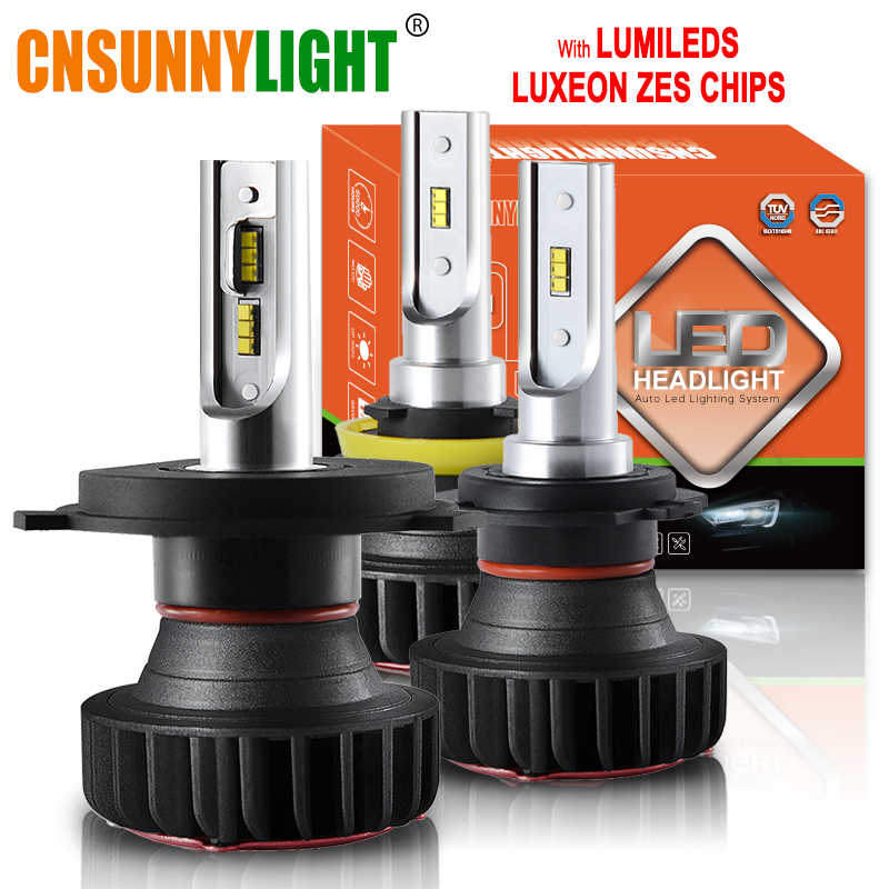 CNSUNNYLIGHT H7 LED H11 H4 H1 with Lumileds ZES Chips 9900LM 72W/set 9005 Car Headlight Bulb 9006 H8 Fog Lamp Headlamp 12V 24V