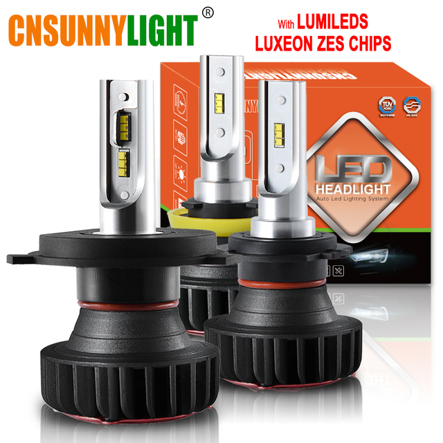 CNSUNNYLIGHT H7 LED H11 H4 H1 met Lumileds ZES Chips 9900LM 72 W/set 9005 Auto Koplamp Lamp 9006 H8 Fog lamp Koplamp 12 V 24 V