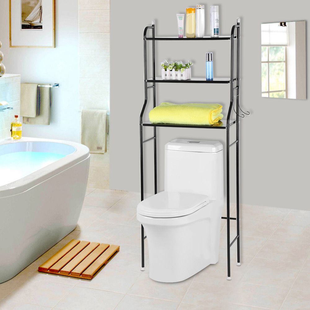 3 Tier Iron Toilet Towel Storage Rack Holder Over Bathroom Washing ...