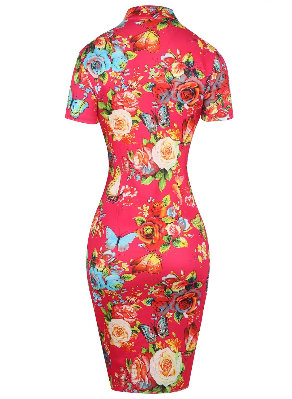 Oxiuly Womens Elegant Red Flower Flower Print Party Հատուկ - Կանացի հագուստ - Լուսանկար 3