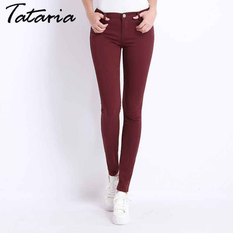 Female Denim Pants Candy Color Jeans Donna Stretch Bottoms Feminino Skinny Tataria