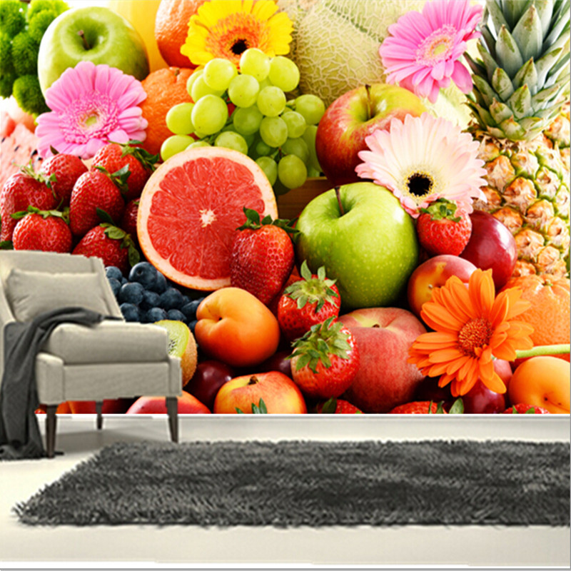 The  custom 3D murals,the colorful  fresh fruits and flowers, cafe wall restaurant the kitchen the  dining room wall wallpaper