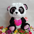 "Hot 1pcs 10"" 25CM Original Ty Beanie Boos Plush Toy Big Eyes Stuffed Animal CUTIE PIE panda with heart Kids Toy Birthday Gifts"