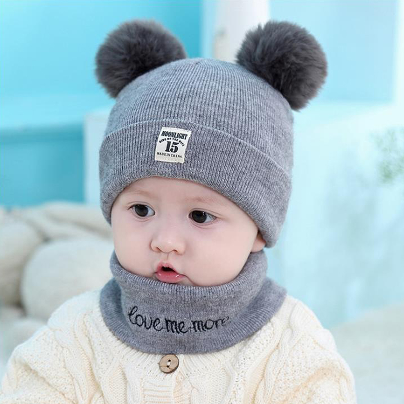2 Pcs Autumn Winter Newborn Baby Knit Hat Scarf Set Cartoon Letter Kids Boys Girls Winter Beanie Hat Scarf Set 3-12M
