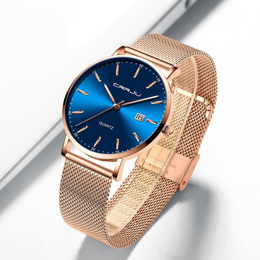 CRRJU Luxury Fashion Woman Bracelet Watch Women Casual Waterproof Quartz Ladies Dress Watches Gift lover Clock