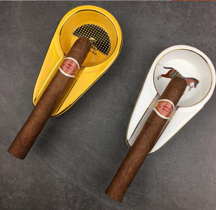 Ceramic COHIBA Cigar Ashtray Single Cigarate Holder Round Ash Slot White Portable Outside Tobacco Travel Ash Tray Horse Pattern|Ashtrays| |  - title=