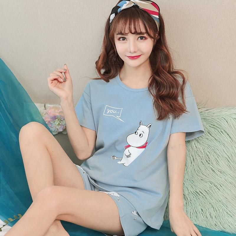 Spring Summer Ladies Pijama Cotton Round Neck Short-sleeved Pyjamas Women Cartoon Korean Pajamas Shorts Suit Pijama Feminino
