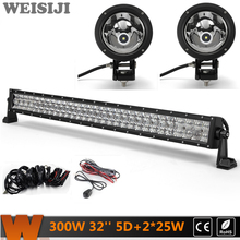 "WEISIJI 300W 32"" Dual-row 5D LED Light Bar+2Pcs 25W 4*4 Offroad LED Work Lights+2Pcs Wiring Kit Sets for Jeep Truck SUV ATV UTV"