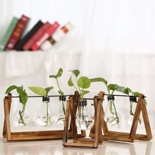Nordic Home Decoration Store Coffee Shop Solid Wood with Bulb water Plant Inserted