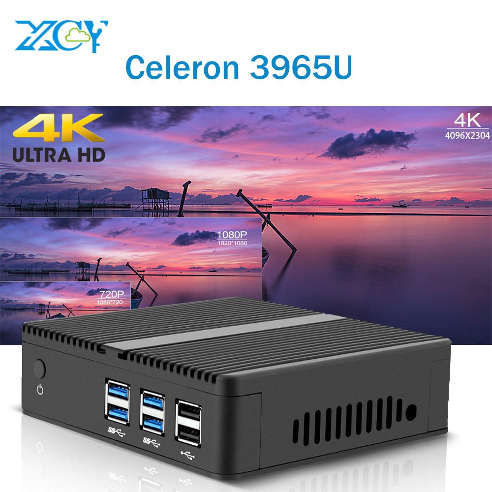 Mini PC 4K UHD Intel Celeron 3965U HD Graphics 610 RAM SSD WITH WIFI Windows 10 Fanless TV Box HDMI VGA WiFi HTPC Micro Computer new x26 mini pc windows 10 8gb ram 320gb ssd with intel celeron 1017u cpu dual cores htpc nettop vga hdmi wifi tv box metal case