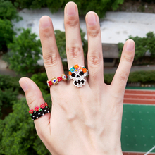 FAIRYWOO New Fashion Jewelry Woman Man Lover Friendship Ring Set Gifts Flower Ethnic Beaded Skeleton Cute Turkey Evil Eye