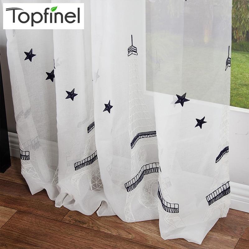 torre eiffel y de la estrella bordada blanco ventana de cortinas cortinas para la sala