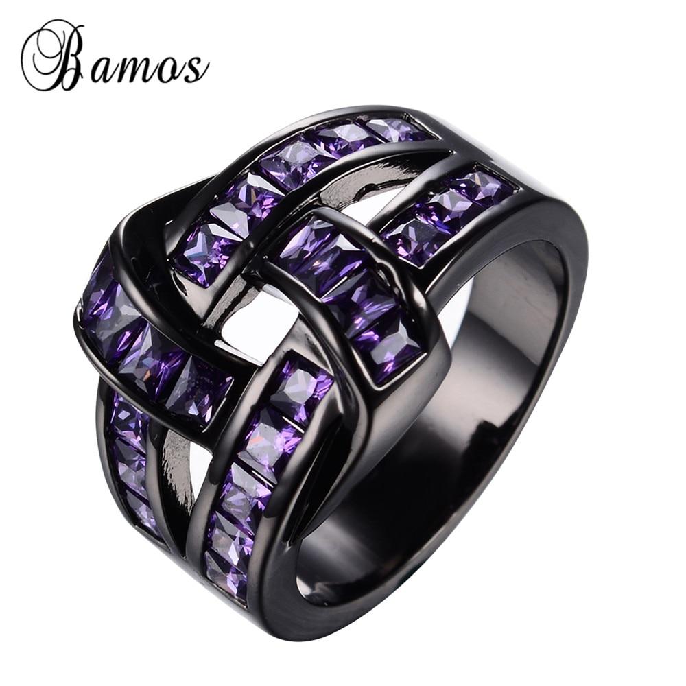 Unique Design Purple Zircon Ring Black Gold Filled Wedding Party Engagement  Rings For Women Bohemian Purple