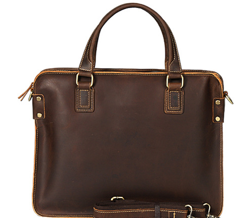 Retro Men Crazy Horse Genuine Leather Briefcases Male Laptop Business Bags Casual High Capacity Travel Cowhide Handbags D837(China)