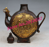 Antique brass ornaments chicken pot pot kettle mouth dragon decoration Home Furnishing antiques and Collectibles