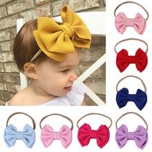 Детская повязка на голову для маленьких девочек; повязка на голову для девочек; тюрбан для малышей; Детские Луки; повязка на голову; нейлоновые аксессуары для волос с бантом; Прямая поставка